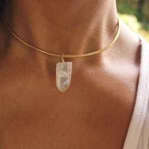 Jewelry - 18KGF Wire Wrapped Aura Crystal Choker
